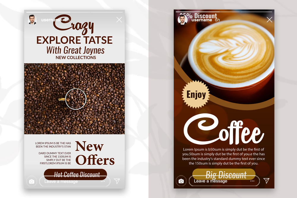 4 PSD Instagram Coffee Stories Template example image 2