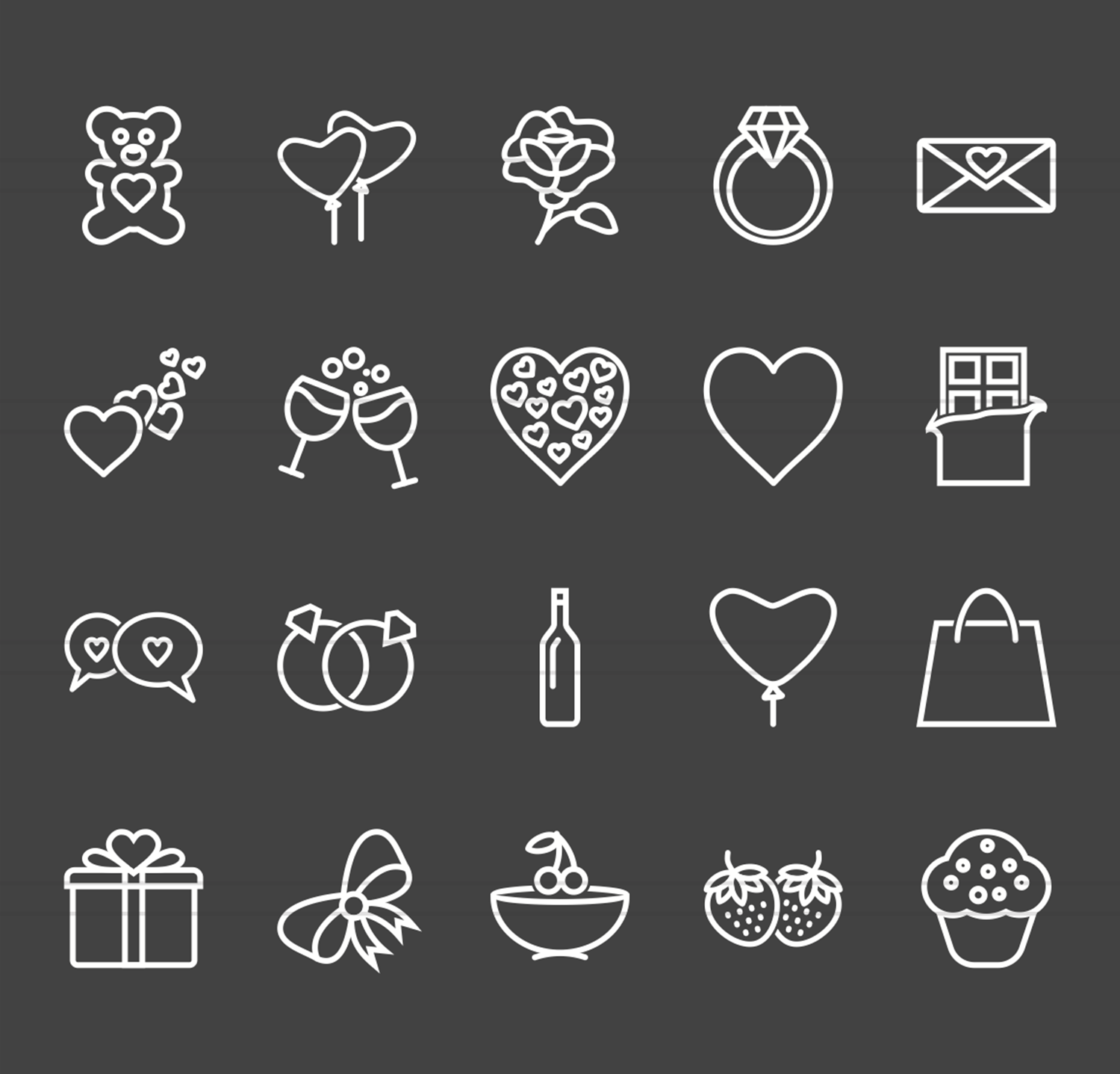 20 Valentine Line Inverted Icons example image 2