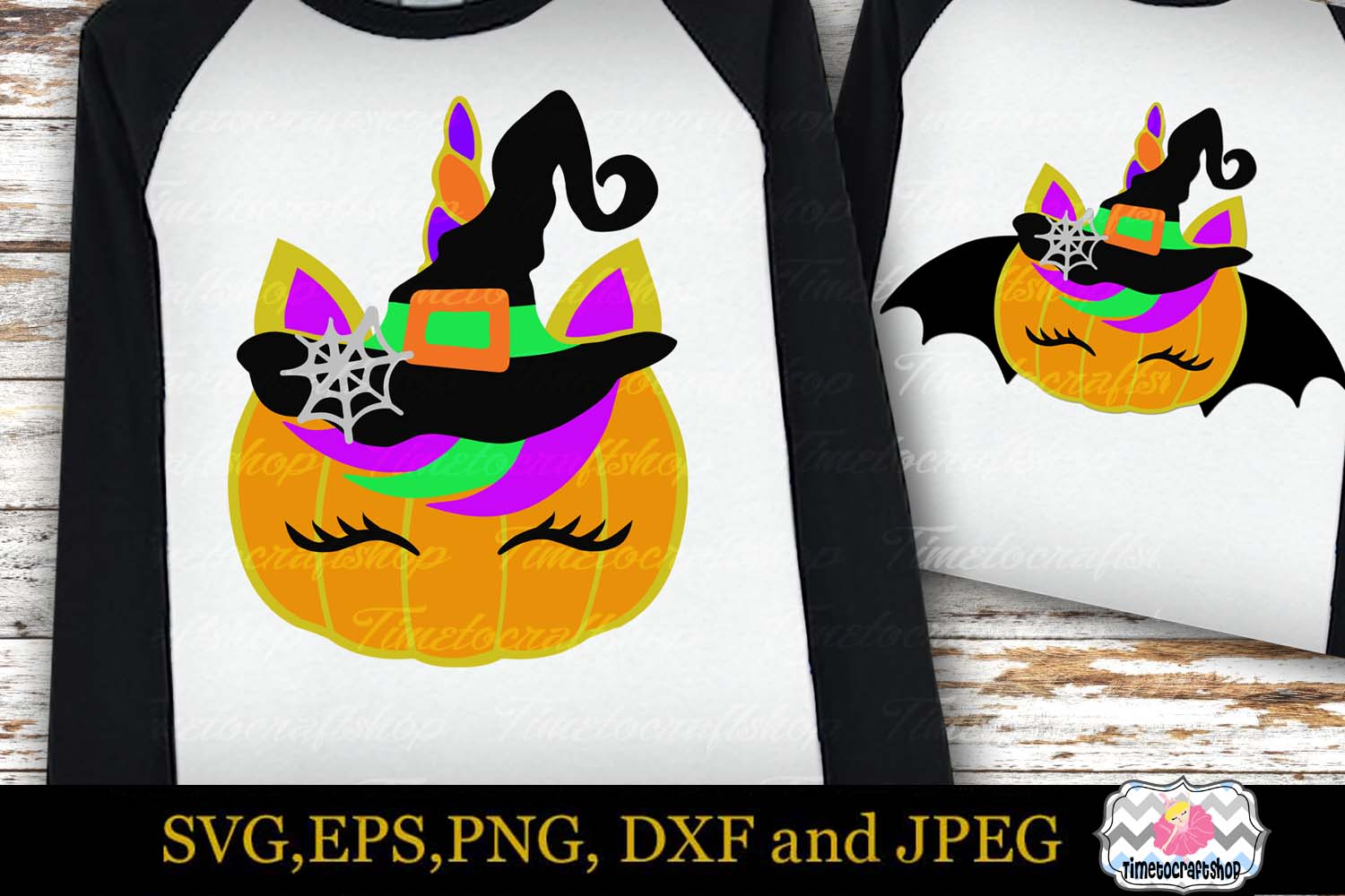 SVG, Eps, Dxf & Png Files For Halloween Unicorn Bundle example image 7