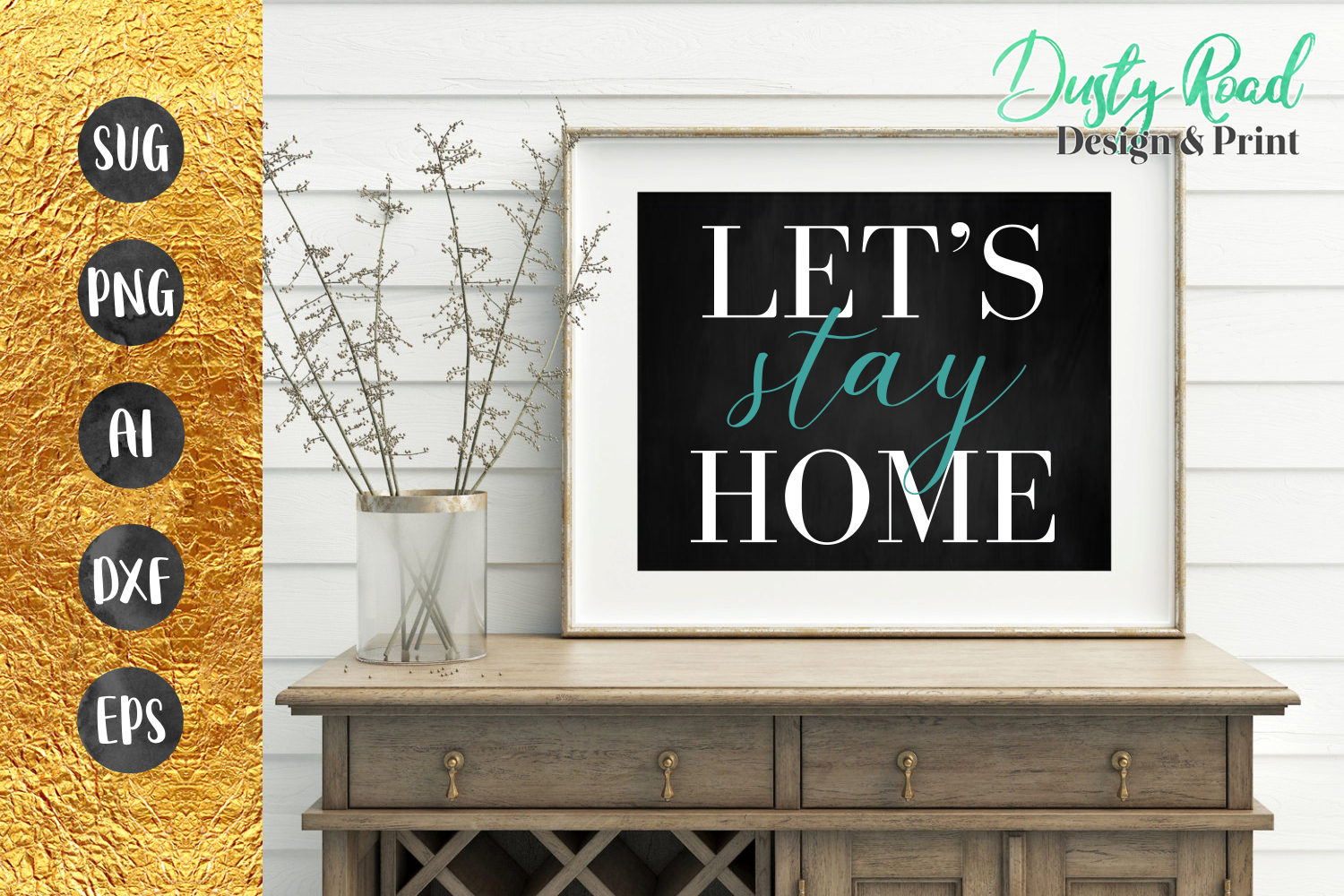 SVG & PNG - Let's Stay Home example image 1