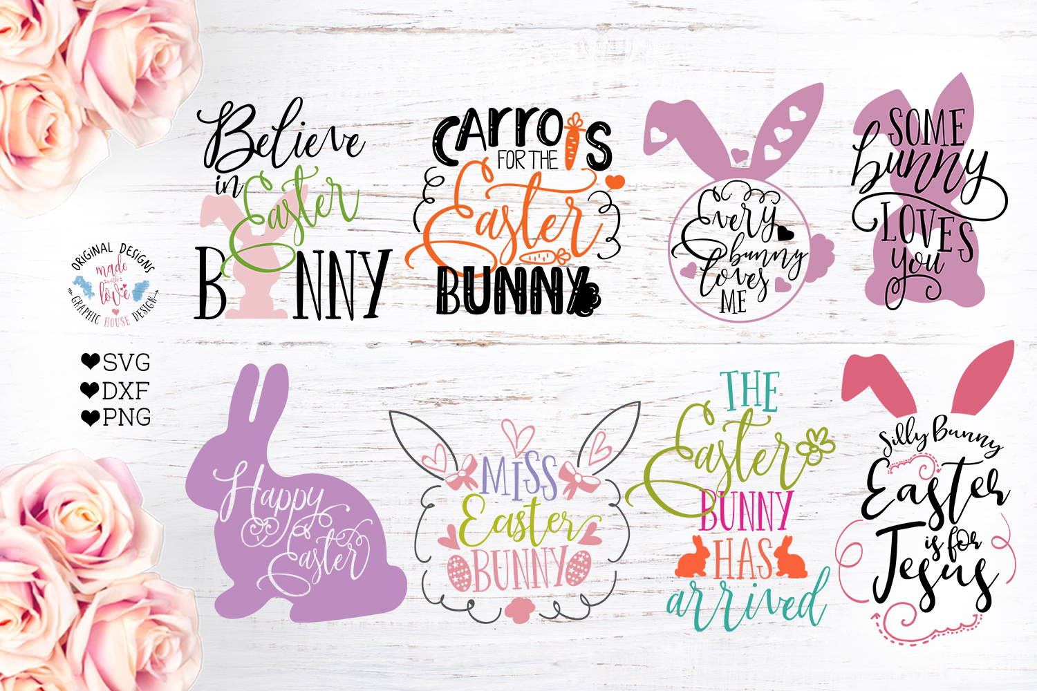 Easter Cut File Bundle in SVG, DXF, PNG example image 1