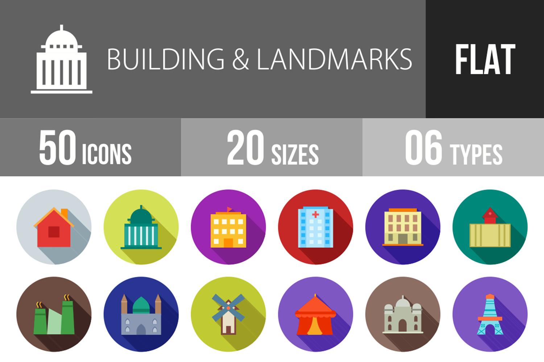 50 Buildings & Landmarks Flat Long Shadow Icons example image 1