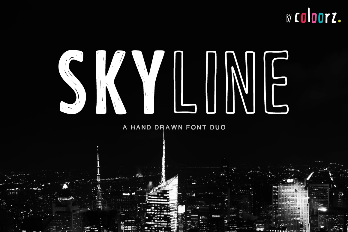 SKYLINE a Hand Drawn Font Duo example image 1