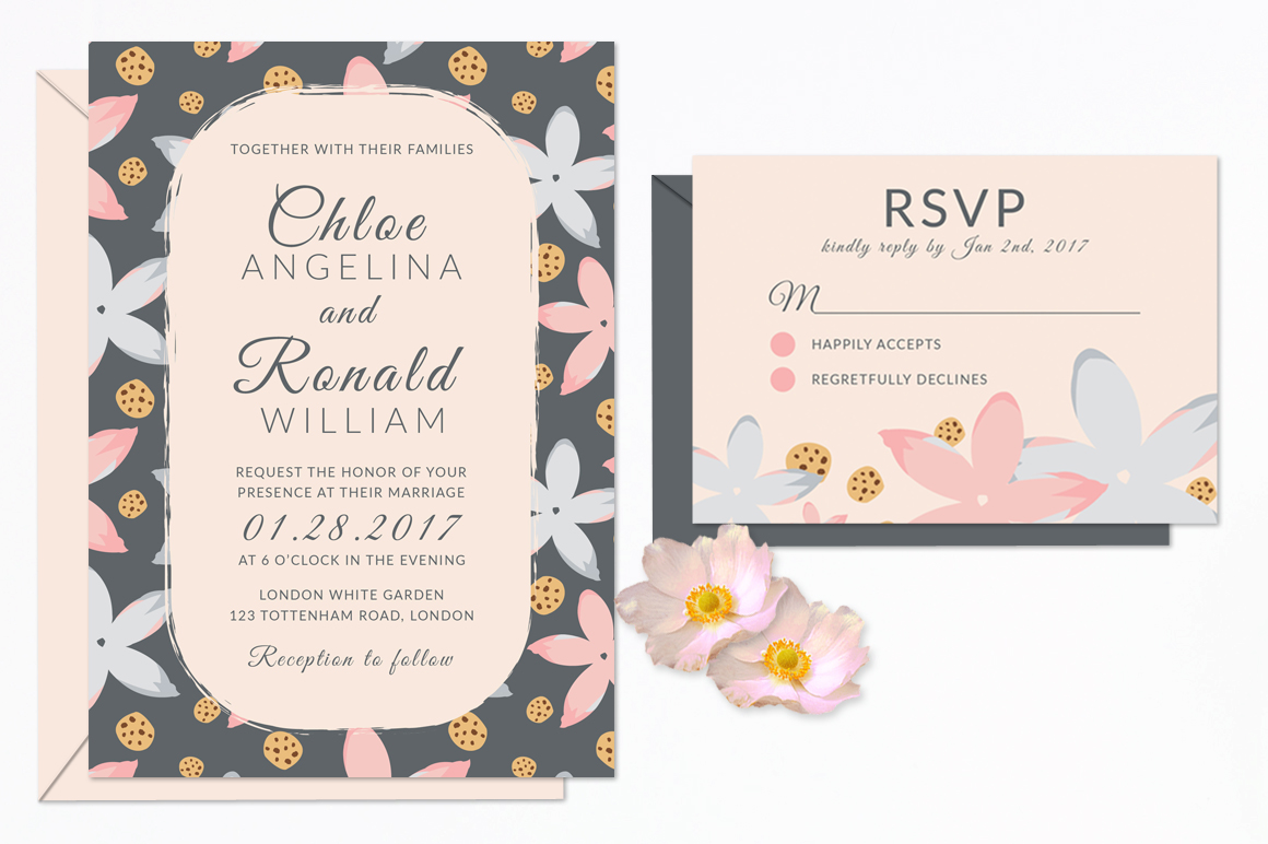 Modern Floral Wedding Invitation Set example image 2