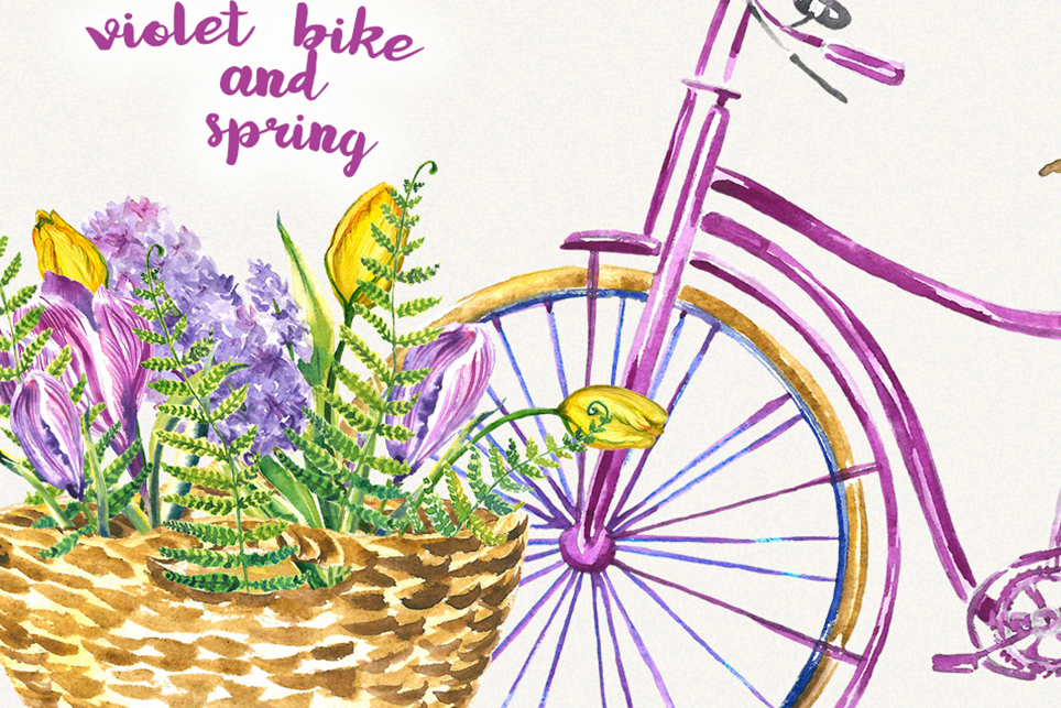 Bike clipart, Bicycle clipart, Spring flower clipart example image 4
