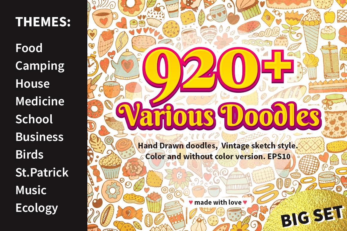 Vintage Doodles Bundle, Sketch Icons example image 1