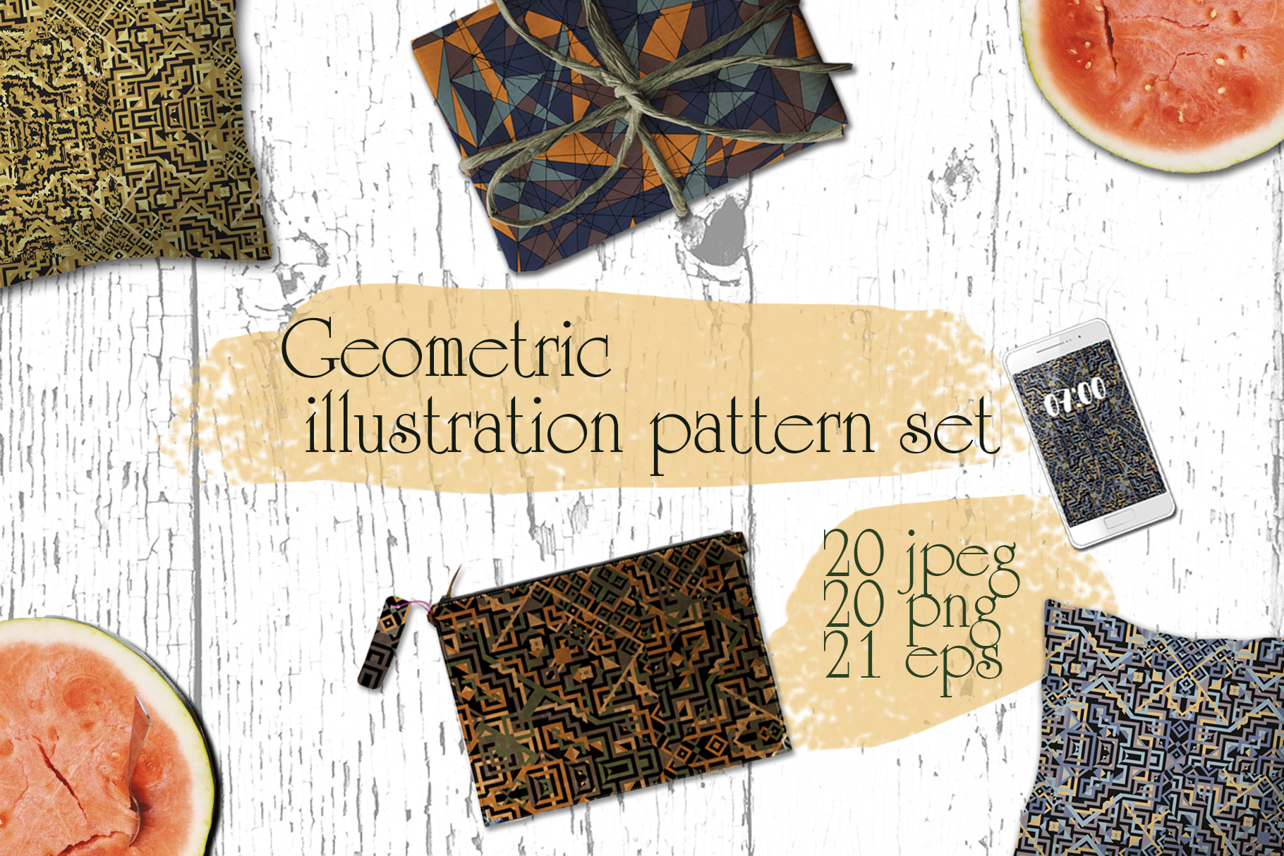 Geometric illustration pattern set example image 1