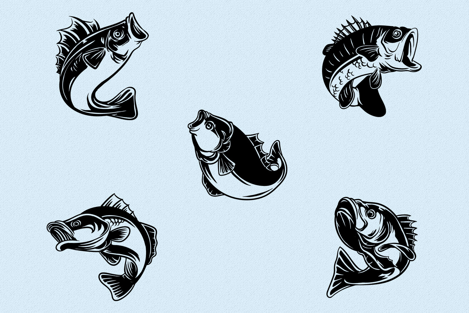 10 Bass Fish Vintage Illustration Collection in Vector example image 2