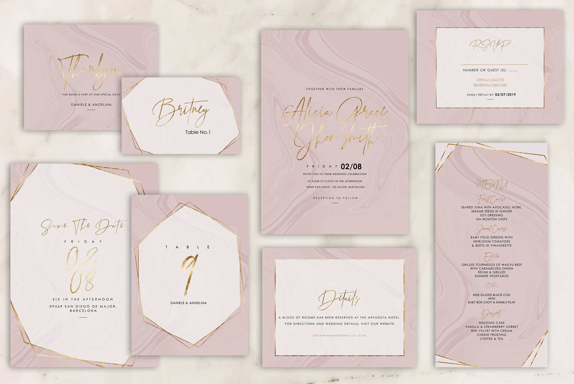 Marble Wedding Invitation - 6 Collections example image 8