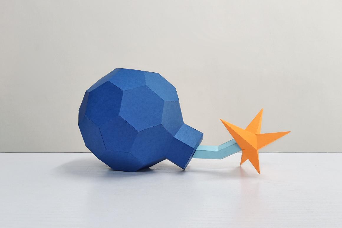 DIY Cannon Bomb,Papercraft Bomb,3d bomb,Paper toy,Bomb Svg example image 1