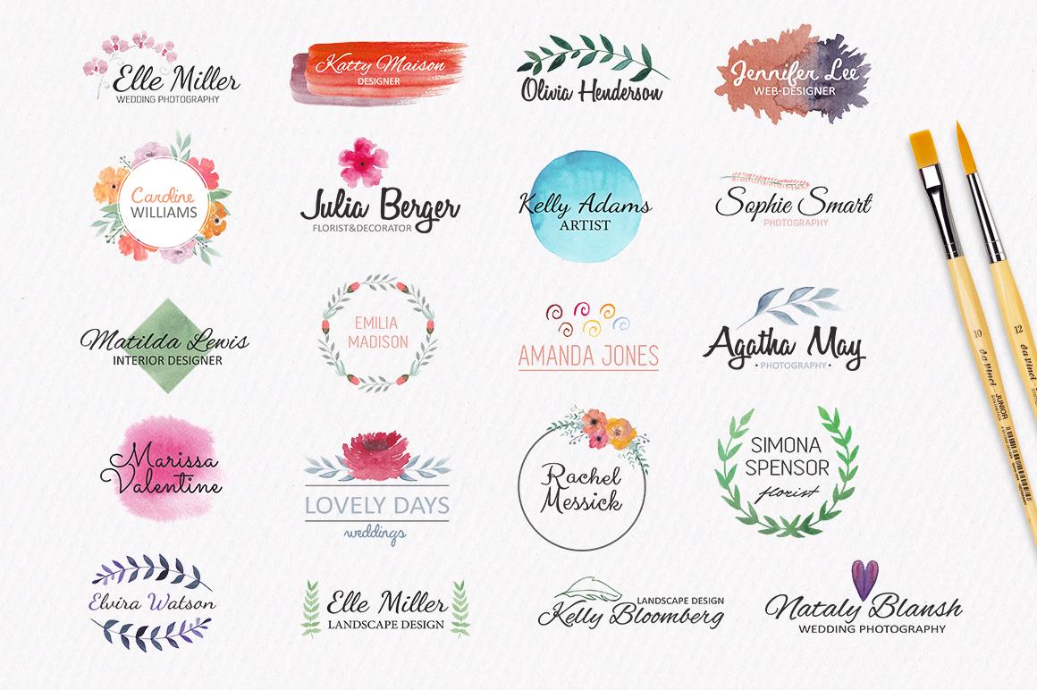 Watercolor logo templates. 20 premade logos example image 2