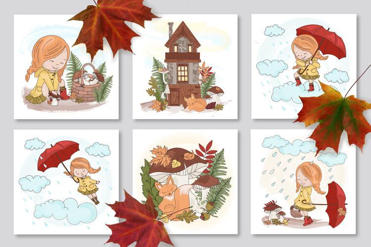 FALL ADVENTURES Autumn Season Cartoon Vector Illustration example image 4