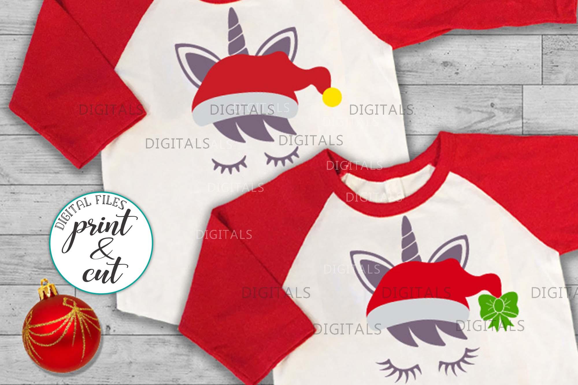 Christmas unicorn in Santa hat eyelashes svg pdf cut print example image 3