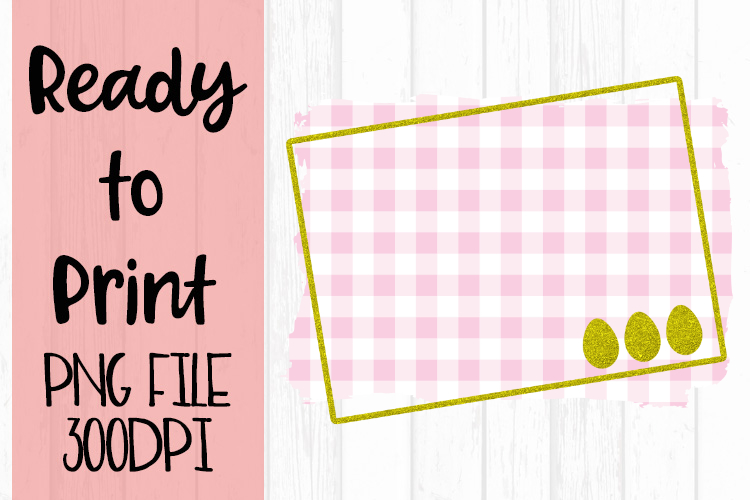 Spring Easter Pink Gingham Frame Ready to Print example image 1