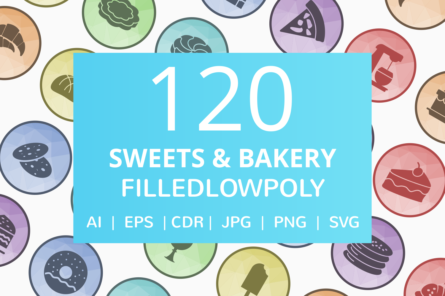 120 Sweets & Bakery Filled Low Poly Icons example image 1