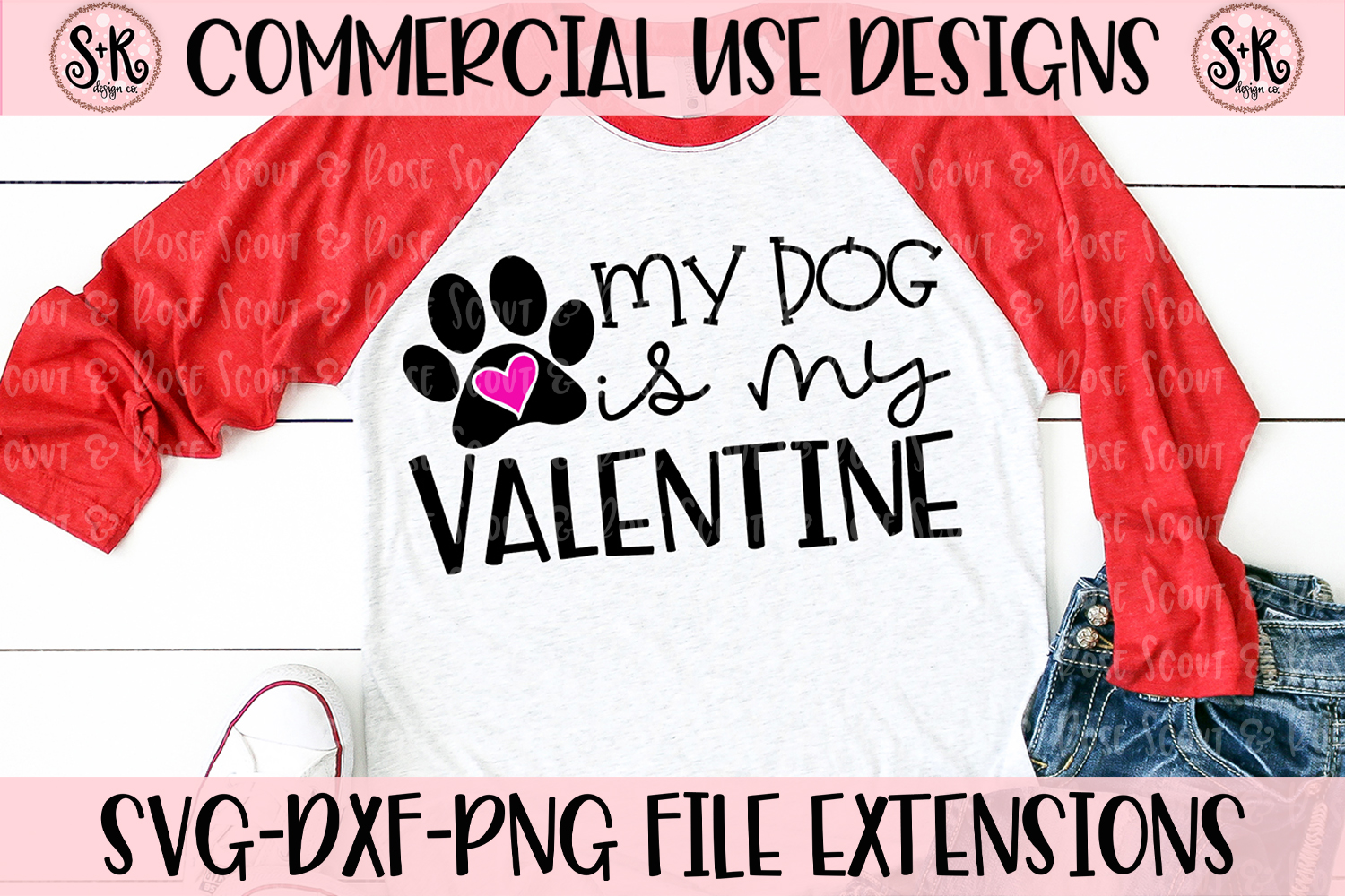 My Dog Is My Valentine SVG DXF PNG example image 1