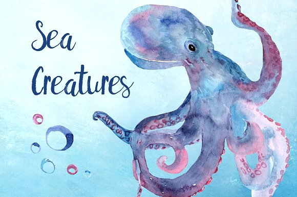 Watercolor Sea Creatures Clipart Set example image 1
