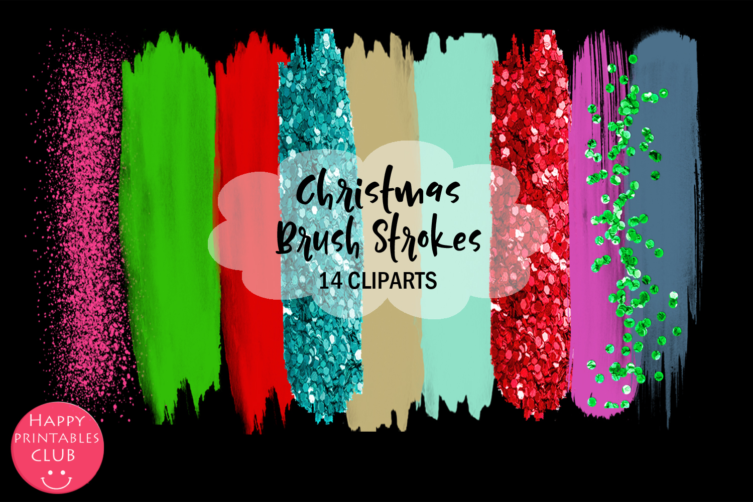 Christmas Brush Strokes Clipart- Brush Strokes Clipart example image 2