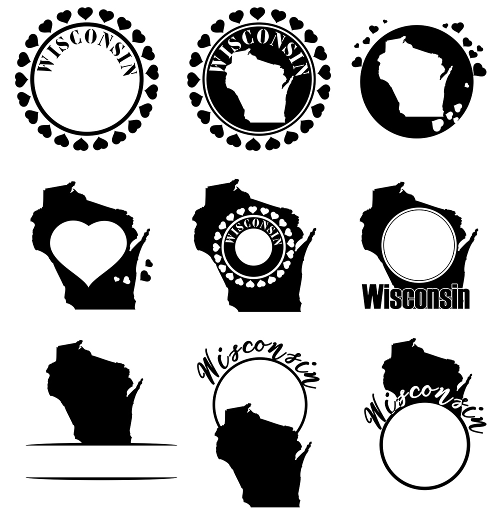 Wisconsin Monograms SVG, JPG, PNG, DWG, CDR, EPS, AI example image 3