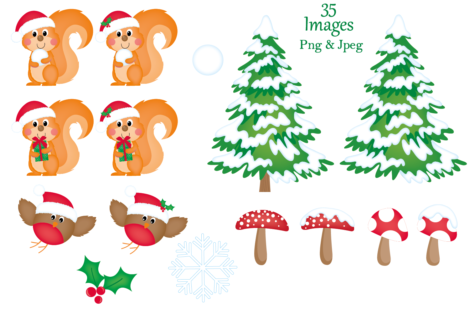 Christmas clipart,Christmas graphics & illustrations,Animals example image 3