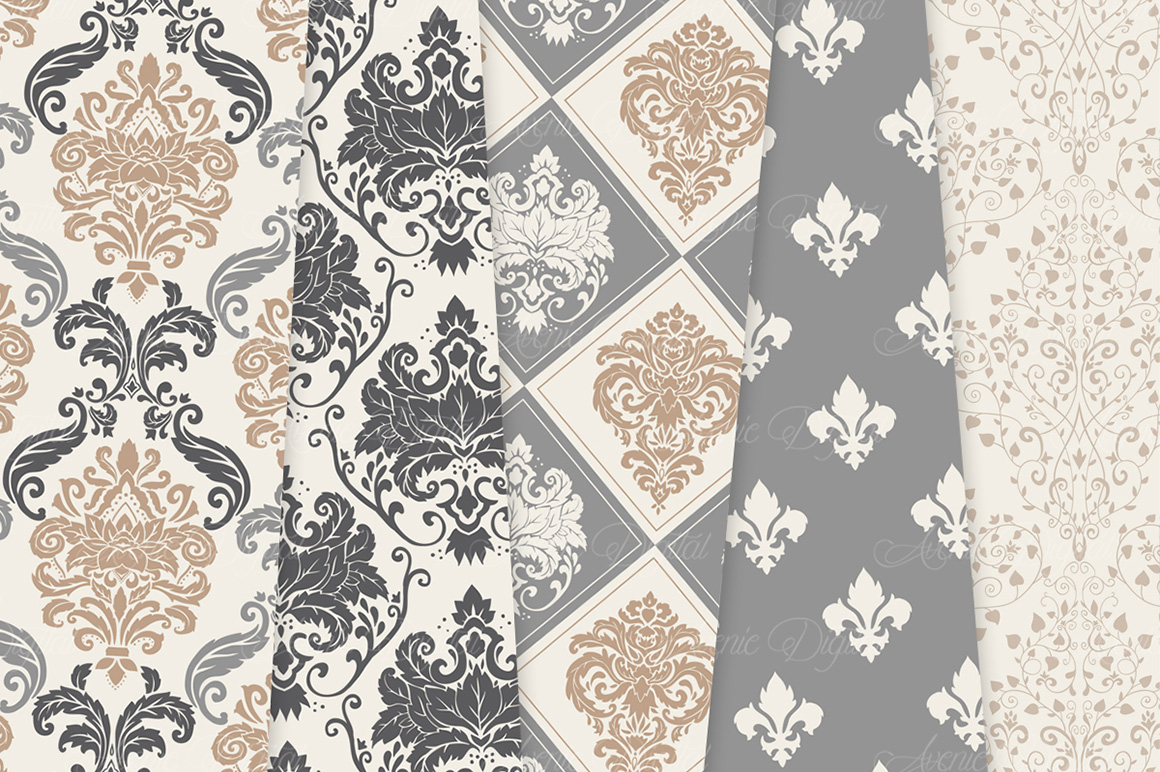 28 Neutral Damask Patterns - Wedding Seamless Digital Papers Bundle example image 7
