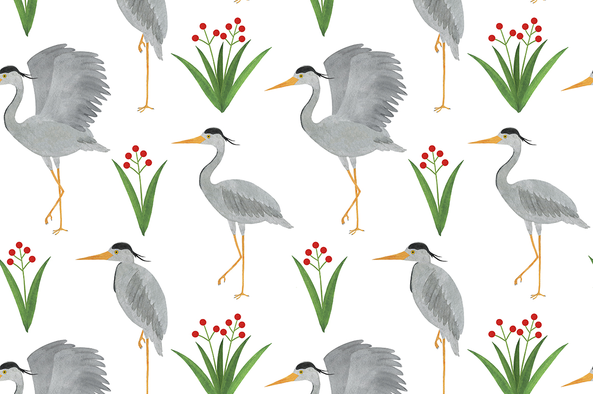 Set of heron watercolor illustrations example image 12