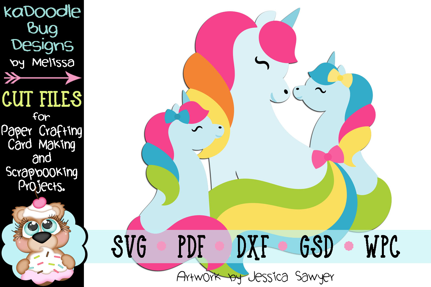 Unicorn Family Cut File - SVG PDF DXF GSD WPC example image 1