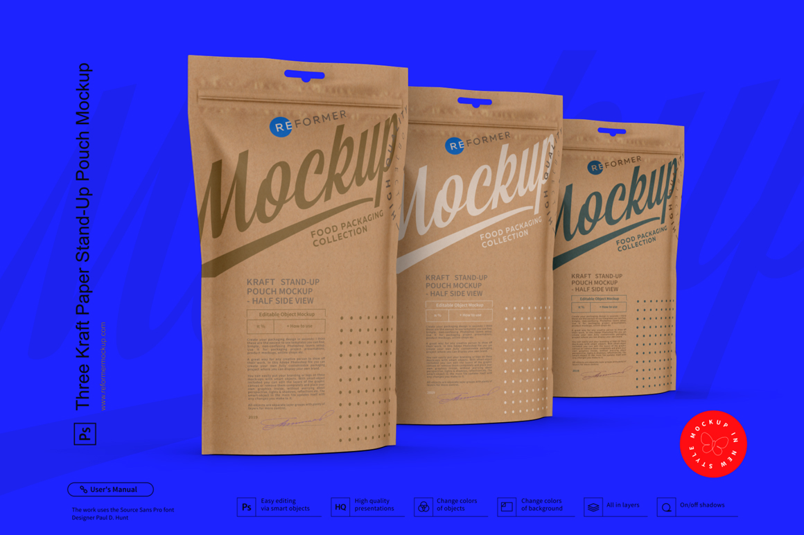 Three Kraft Paper Stand-Up Pouch Mockup example image 2