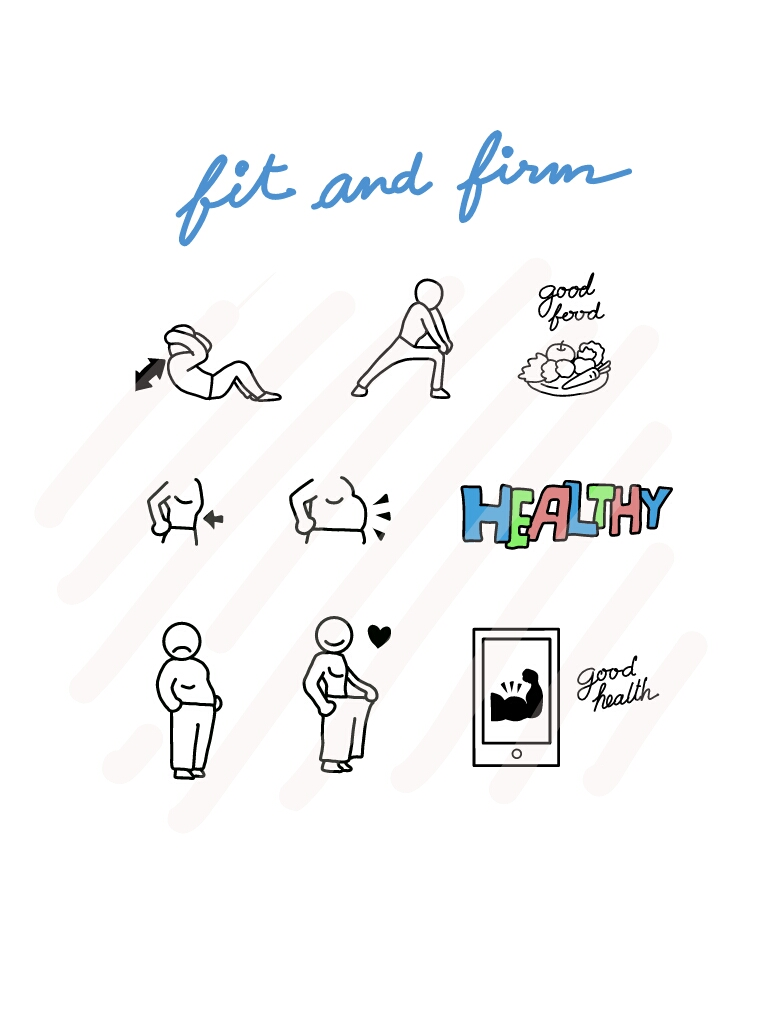 Fit and Firm 2 Lose weight - SVG/JPG/PNG Hand Drawing example image 1