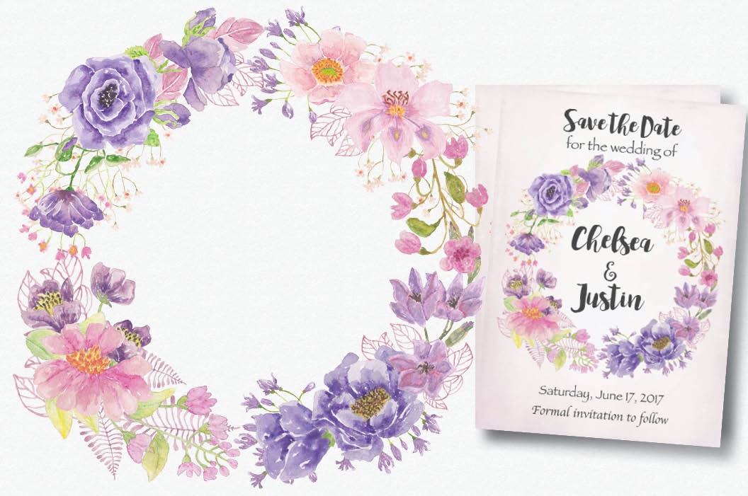 Watercolor wreath of purple and pink flowers example image 2