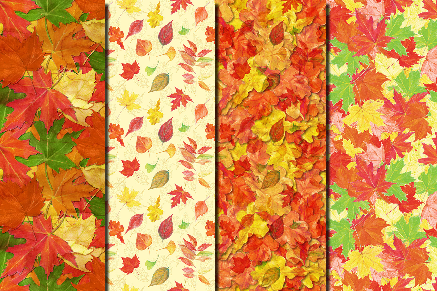 Autumn/ Fall Leaves seamless digital paper pack example image 5