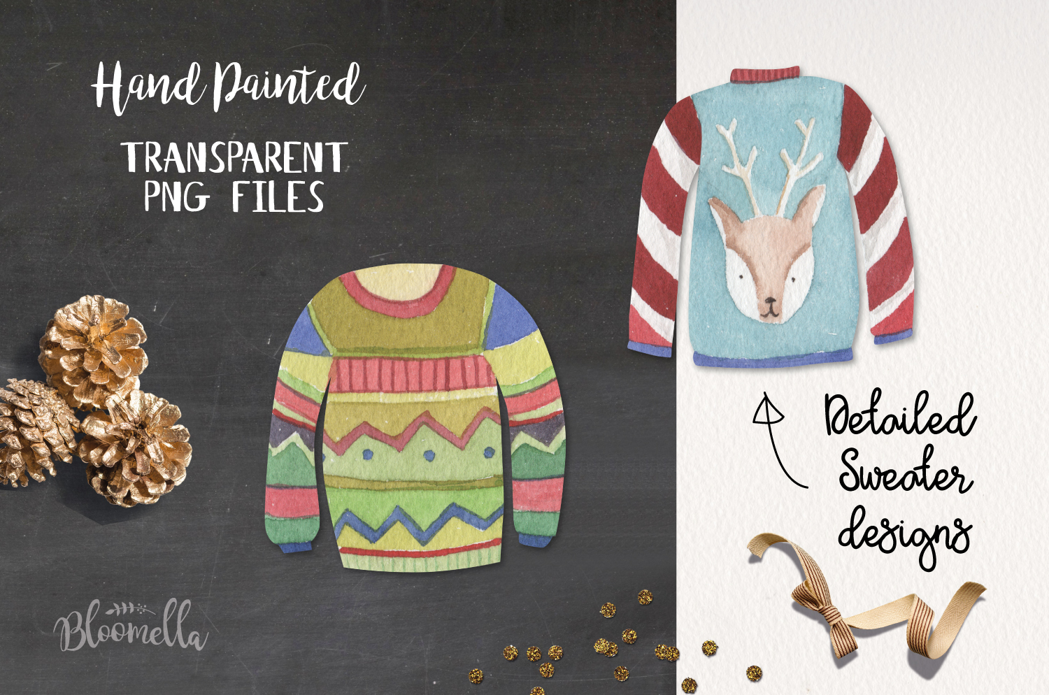 Festive Jumpers Watercolor Elements Christmas Sweaters Xmas example image 4