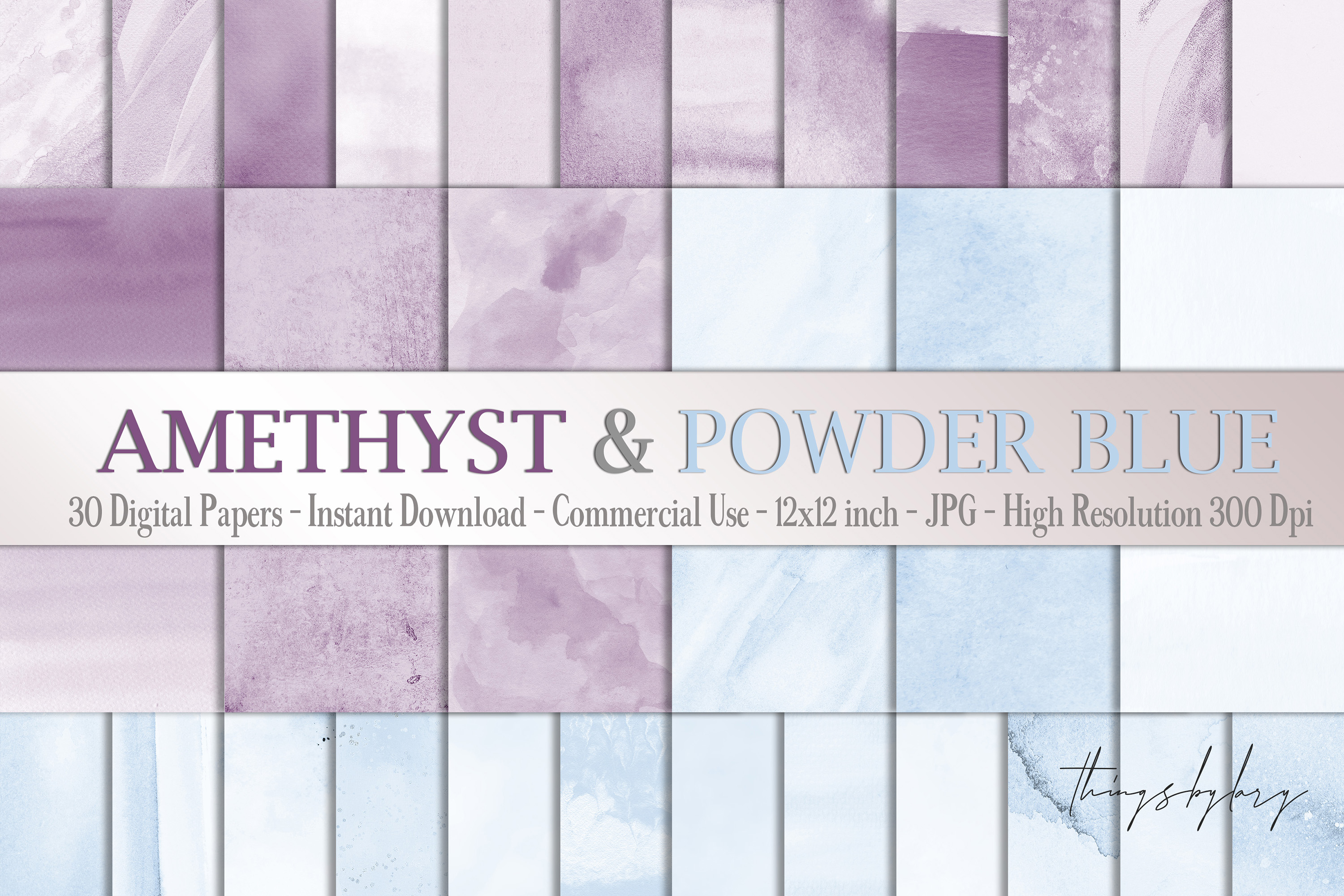 30 Ombre Amethyst & Powder Blue Watercolor Digital Papers example image 1