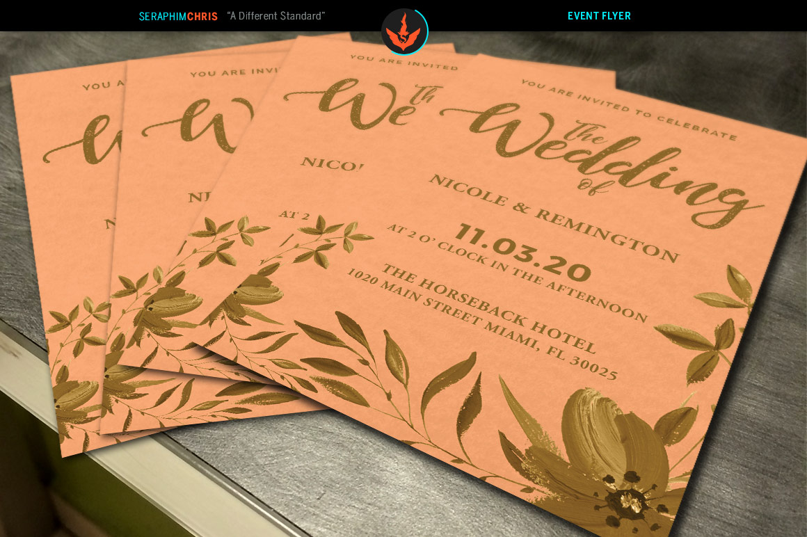 Gold and Peach Wedding Invite Template example image 3