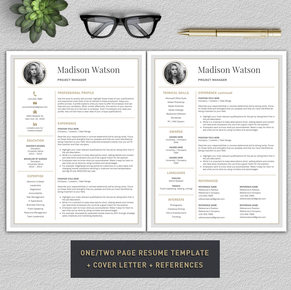 Professional Resume Template / CV Template / Resume for Word with Cover Letter example image 2