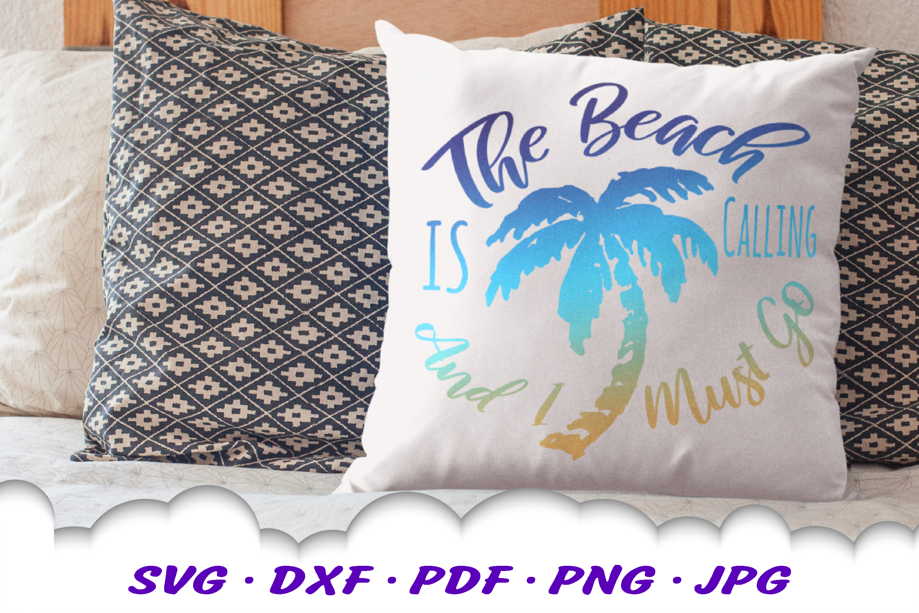 The Beach Is Calling Palm Tree SVG DXF Cut Files example image 2