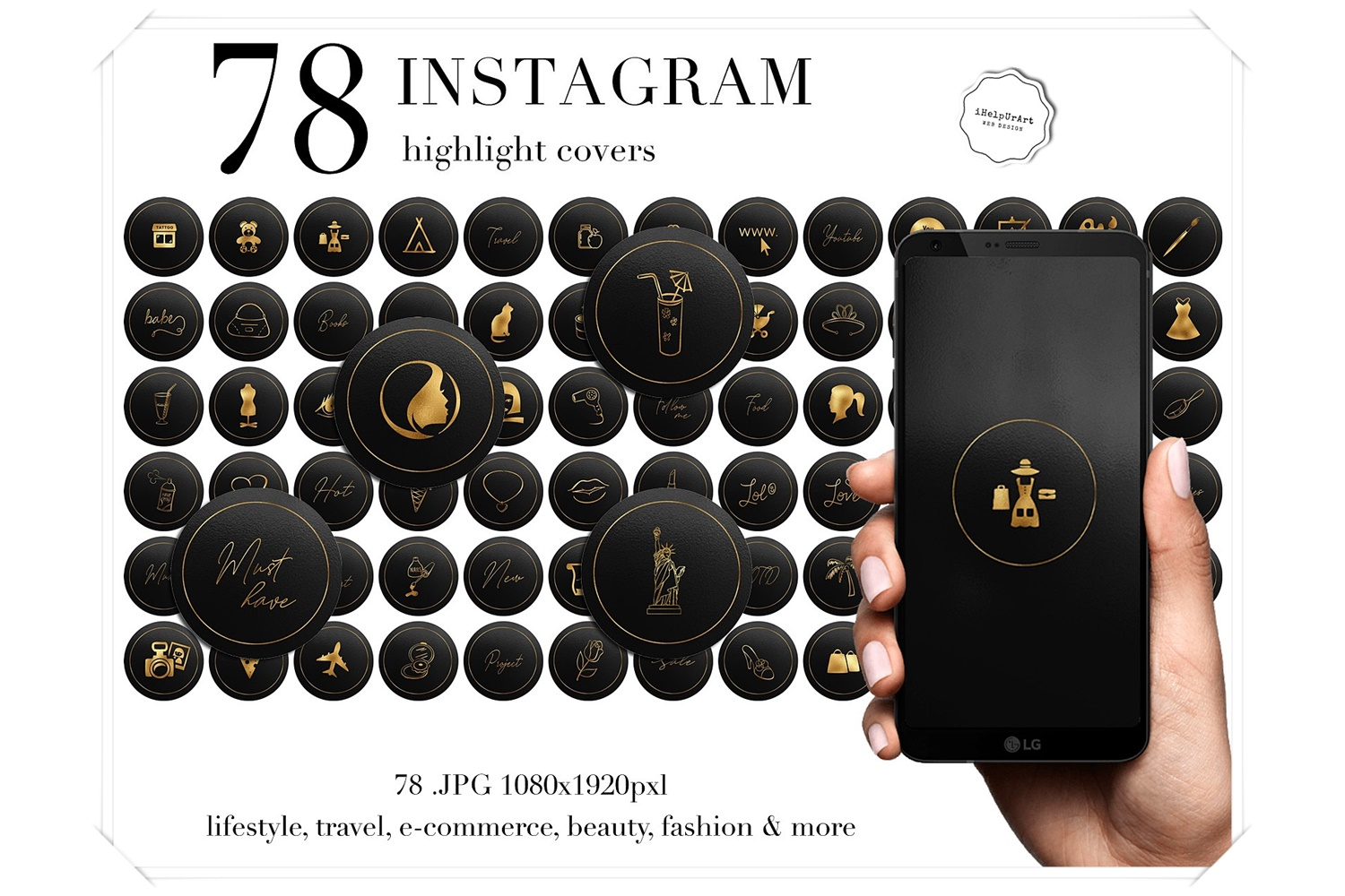Gold on Black Instagram Story Highlight Covers example image 1