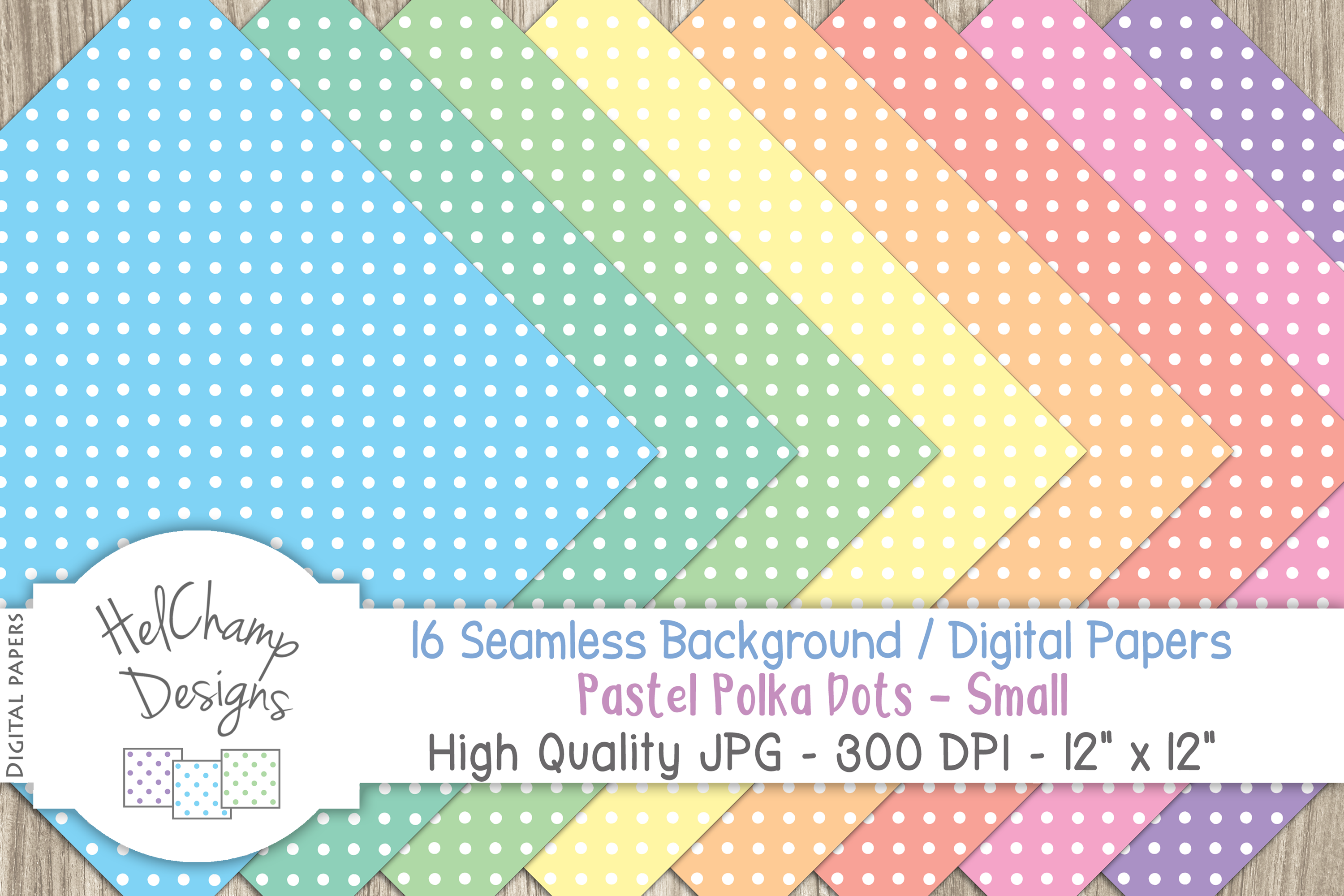 16 seamless Digital Papers - Pastel Polka Dots Small - HC009 example image 4