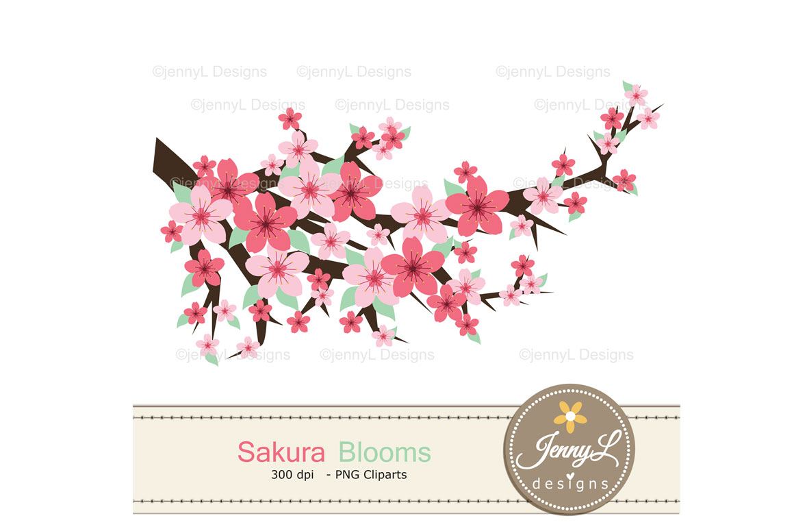 Cherry Blossoms Digital Papers and Sakura Clipart example image 5