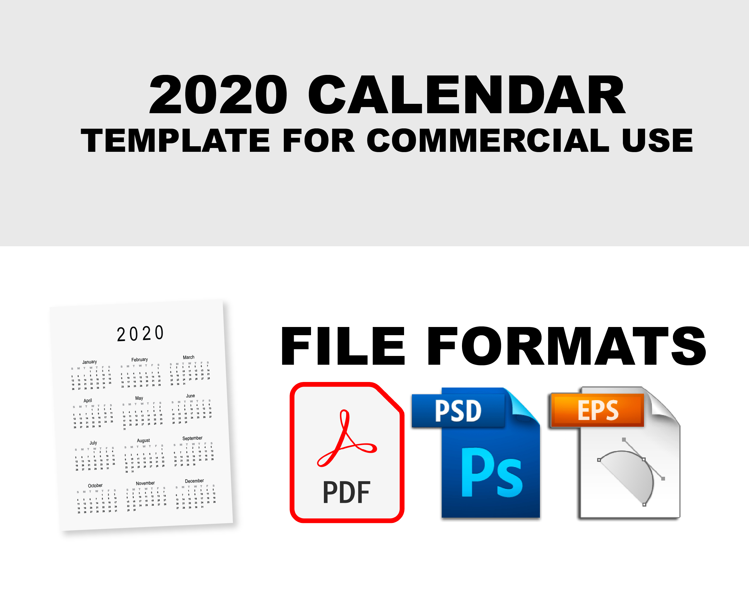 2020 Calendar Template for Commercial Use - PSD, EPS, PDF example image 5