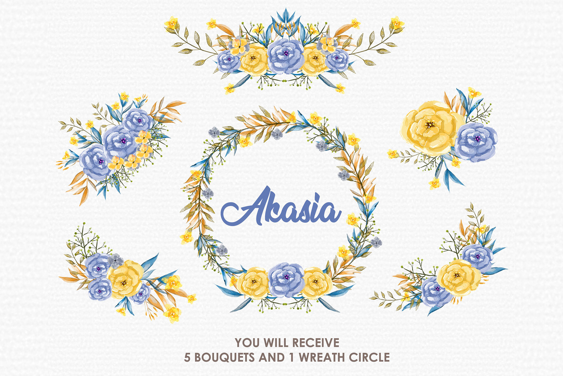 Blue Akasia - Digital Watercolor Floral Flower Style Clipart example image 3