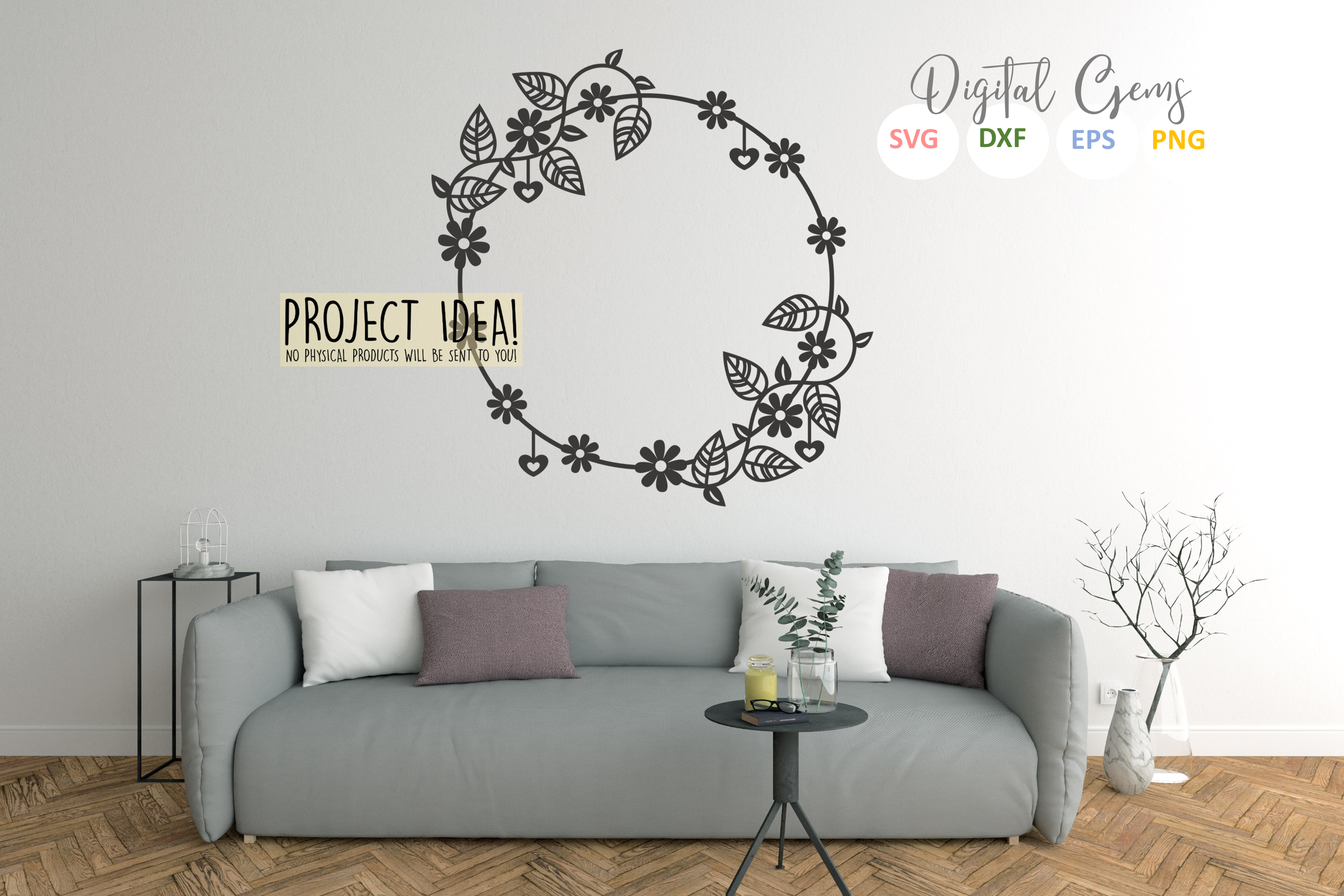 Flower frame paper cut design. SVG / DXF / EPS / PNG files example image 5