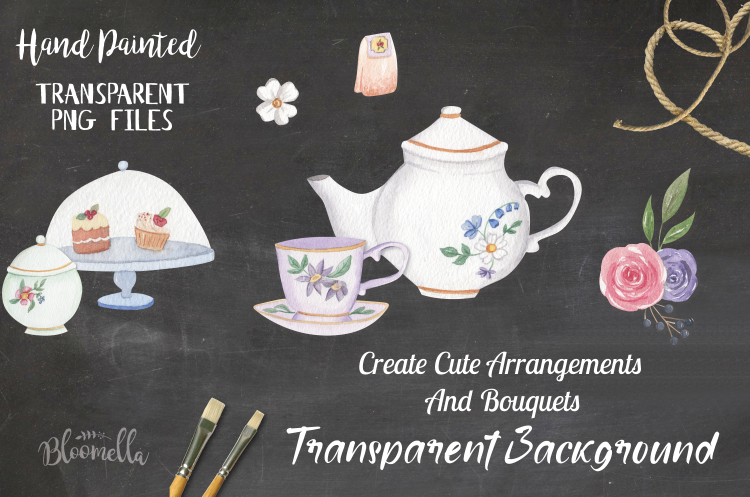 Afternoon Tea 18 Mini Watercolor Teapot & Cups Cakes Florals example image 2