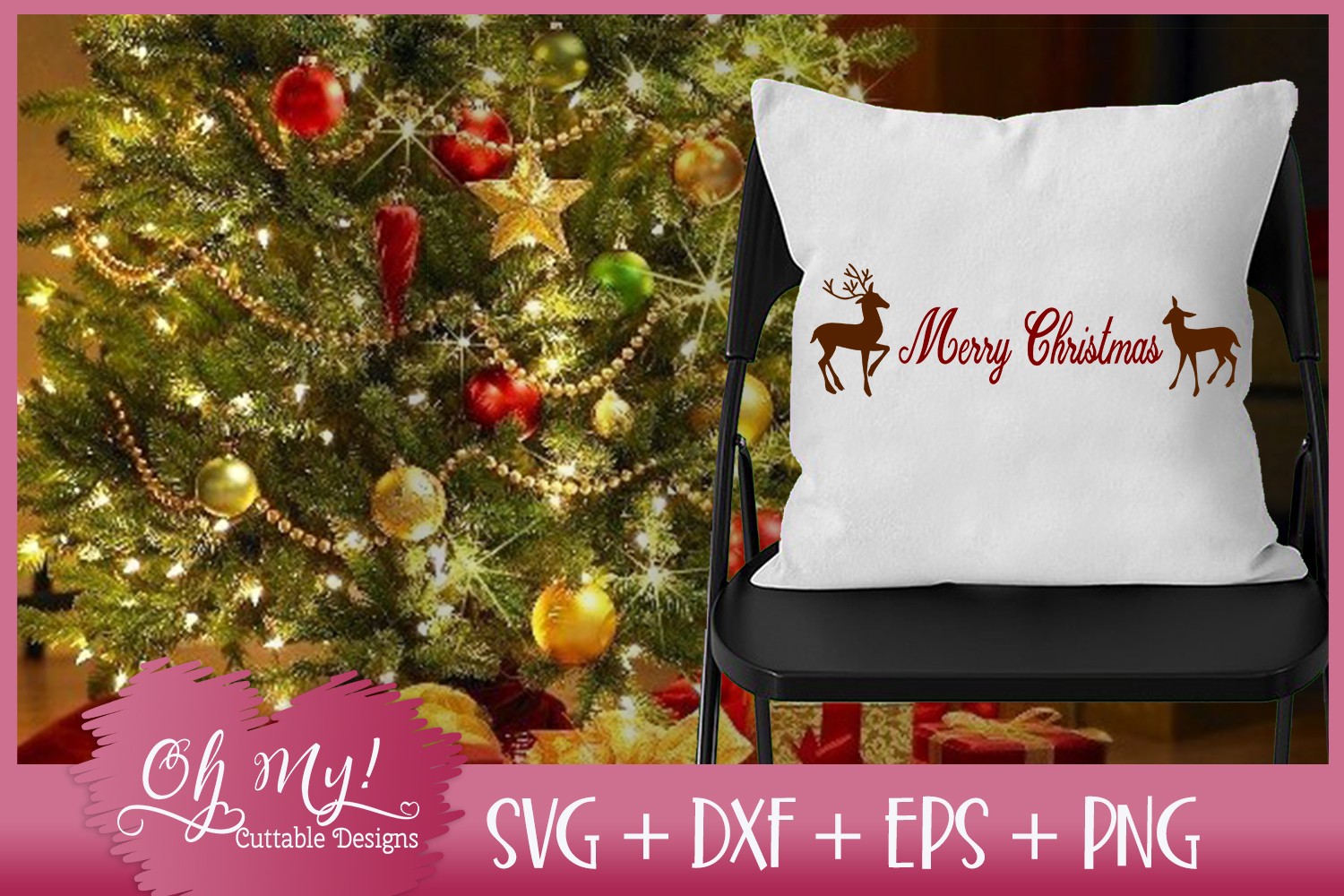 Merry Christmas Reindeer - SVG DXF EPS PNG example image 3
