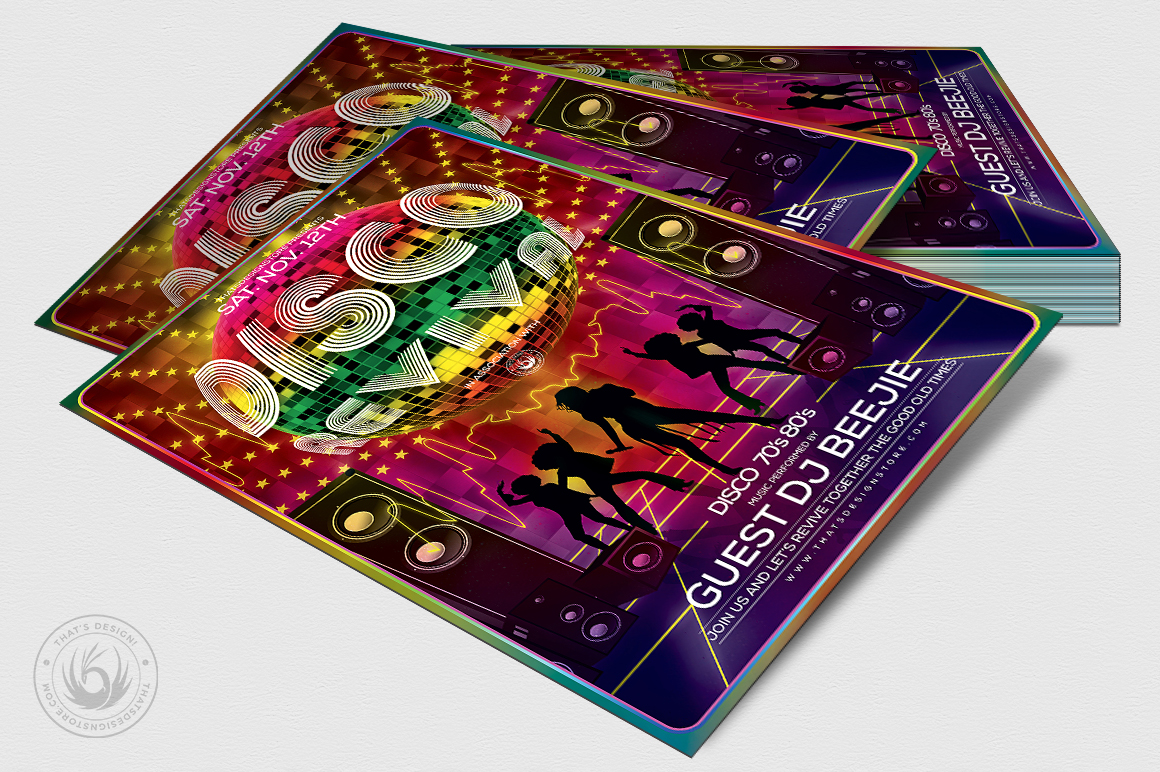 Disco Revival Flyer Template V1 example image 4