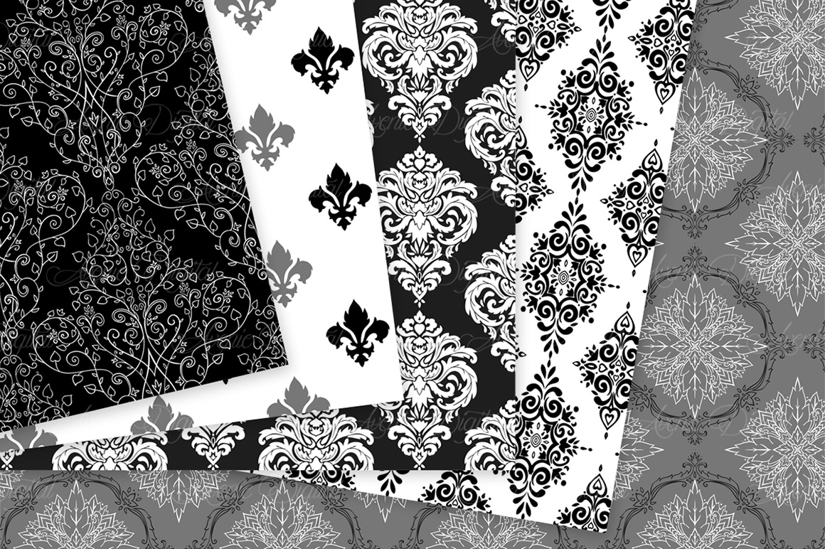Black and White Damask Patterns - Seamless Digital Papers example image 5