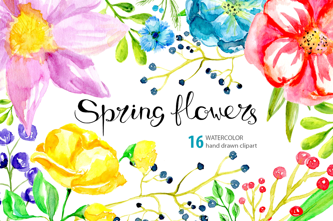 Watercolor spring bright flowers example image 1