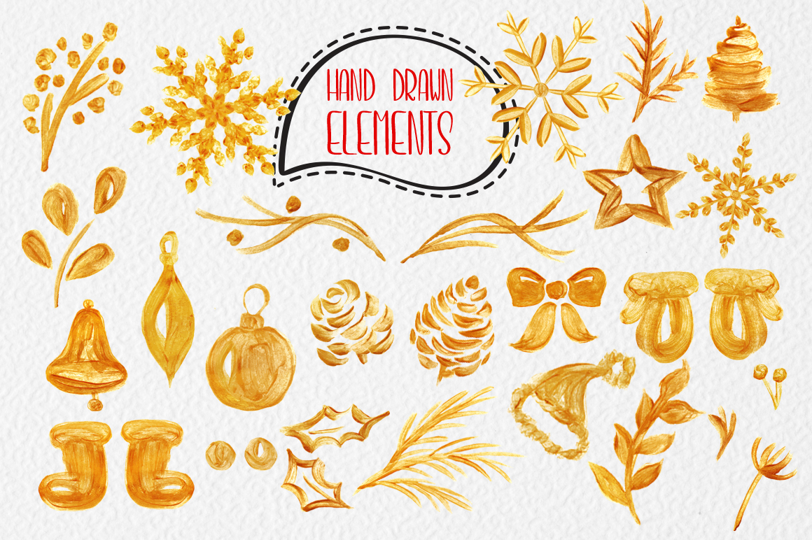 Merry Christmas Hand Draw Lettering Objects example image 7