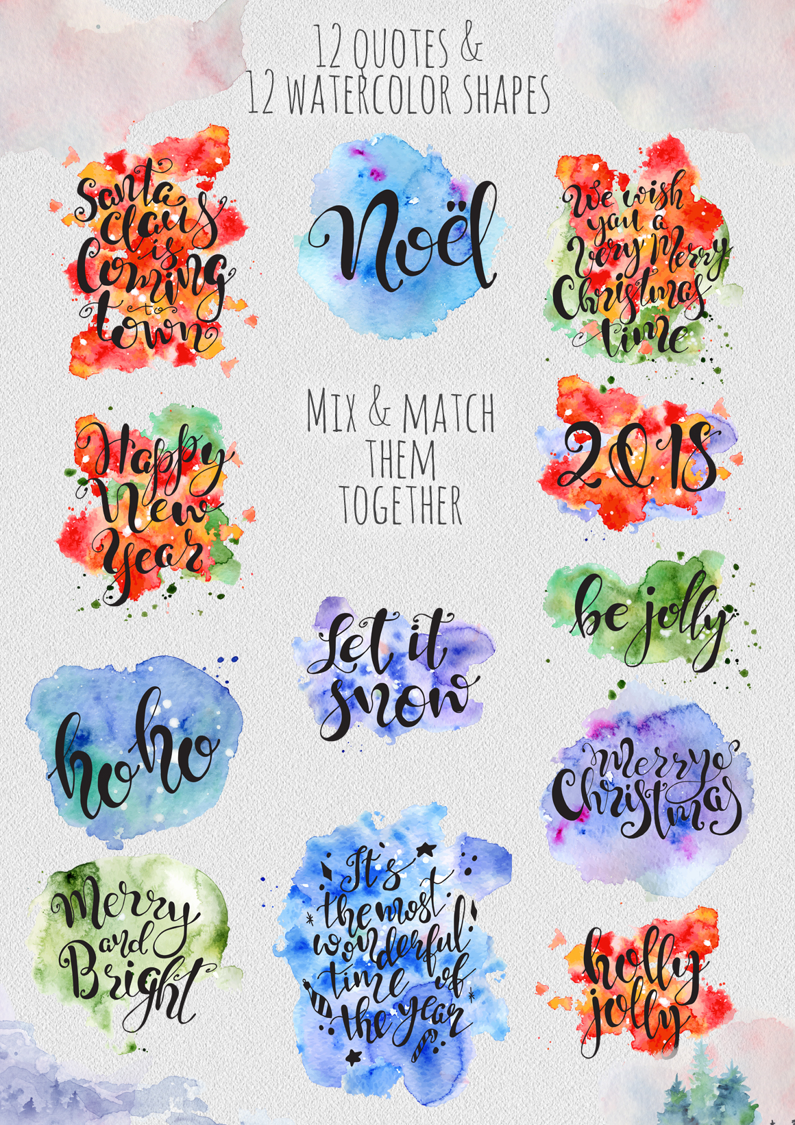 Magical Winter Bundle. Big Watercolor and lettering collection example image 17