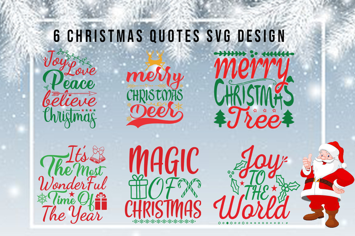 6 Christmas Quotes SVg Design example image 2